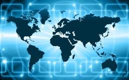Mapa do mundo em um fundo tecnologico, incandescendo ilustração do vetor