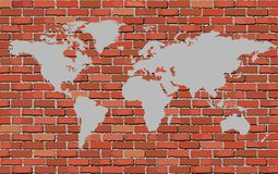 Mapa do mundo em uma parede de tijolo Fotografia de Stock