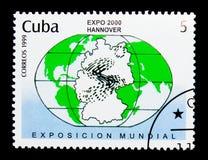 Mapa do mundo, emblema da expo 2000, serie, cerca de 1999 fotos de stock