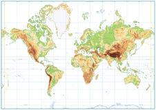 Mapa do mundo físico vazio isolado no branco Fotos de Stock Royalty Free