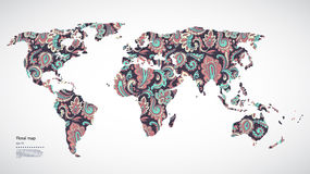 Mapa do mundo floral do vetor bonito Imagens de Stock