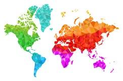 Mapa do mundo geométrico nas cores Fotos de Stock