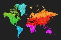 Mapa do mundo geométrico nas cores Fotos de Stock Royalty Free