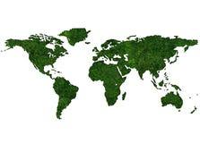 Mapa do mundo gramíneo Fotografia de Stock Royalty Free