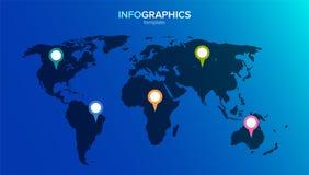 Mapa do mundo infographic 5 pinos multi-coloridos nos continentes Ilustração do vetor no estilo liso para o infographics ilustração royalty free