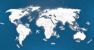 Mapa do mundo logístico Fotografia de Stock Royalty Free