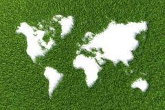 Mapa do mundo na grama no backgr verde Fotos de Stock