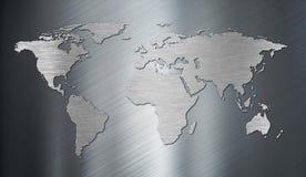 Mapa do mundo na placa de metal Fotografia de Stock