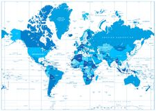 Mapa do mundo nas cores do azul isoladas no branco ilustração royalty free