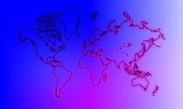 Mapa do mundo no fundo protegido ilustração do vetor