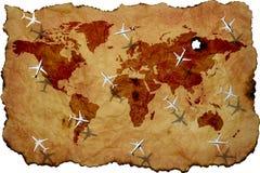 Mapa do mundo no pergaminho velho com planos do voo ilustração royalty free