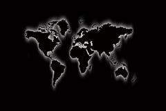Mapa do mundo no preto Fotografia de Stock