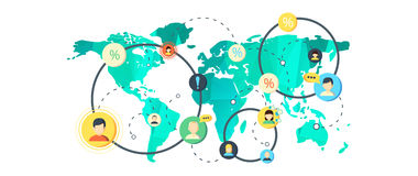 Mapa do mundo no projeto liso Fotos de Stock Royalty Free
