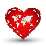 Mapa do mundo no vermelho do coração ilustração do vetor