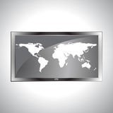 Mapa do mundo no vetor da tevê LCD ilustração stock