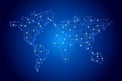 Mapa do mundo pela placa de circuito