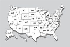 Mapa do mundo político com a sombra isolada no fundo cinzento, ilustração do vetor Fotos de Stock Royalty Free
