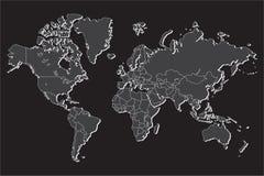 Mapa do mundo político com a sombra isolada no fundo cinzento, ilustração do vetor Imagens de Stock Royalty Free
