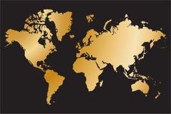 Mapa do mundo político isolado no fundo preto, ilustração do vetor Imagem de Stock