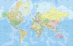 Mapa do mundo político na projeção de Mercator ilustração do vetor