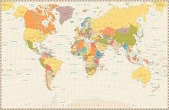 Mapa do mundo político retro detalhado Imagem de Stock Royalty Free