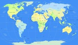 Mapa do mundo político do vetor detalhado Fotos de Stock Royalty Free