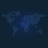 Mapa do mundo pontilhado na obscuridade - o azul pontilhou o fundo Imagem de Stock