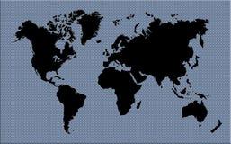 Mapa do mundo preto e cinzento Imagens de Stock Royalty Free