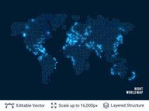 Mapa do mundo preto vazio pontilhado Imagens de Stock