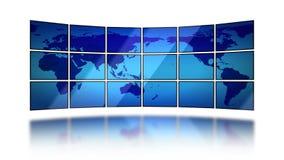 Mapa do mundo que move sobre telas no fundo branco Animação sem emenda HD 1080 ilustração do vetor