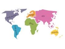 Mapa do mundo simplificado dividido a seis continentes em cores diferentes Ilustração lisa simples do vetor ilustração royalty free