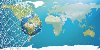 Mapa do mundo sobre a bola de futebol na rede do futebol objetivo 3D-Illustration Fotografia de Stock Royalty Free