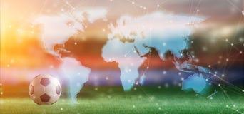 Mapa do mundo sobre do estádio de futebol uma competição do campeonato do mundo fot - 3d Imagem de Stock Royalty Free