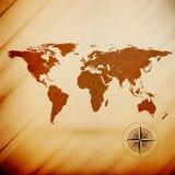 Mapa do mundo, textura de madeira do projeto, vetor Fotografia de Stock Royalty Free