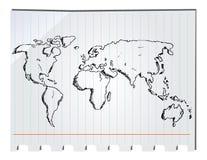 Mapa do mundo tirado mão Imagem de Stock
