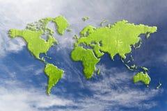 Mapa do mundo verde Imagens de Stock