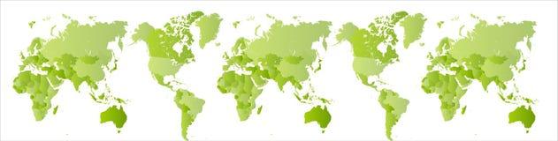 Mapa do mundo verde grande Terra expandida do planeta Varredura do globo Do sul e hemisfério Norte em um mapa Largo isolado ilustração royalty free
