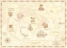 Mapa do mundo do vintage com compasso e montanhas Criaturas do mar no oceano Tesouro envelhecido capitão e âncora marinhos ilustração royalty free