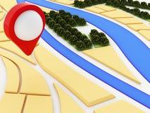 mapa do navegador 3d e marcador do ponteiro na cidade Fotos de Stock