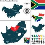 Mapa do noroeste, África do Sul Fotos de Stock Royalty Free
