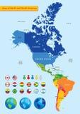 Mapa do norte e da Ámérica do Sul Fotografia de Stock