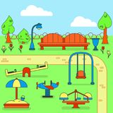 Mapa do parque da cidade com campo de jogos das crianças Imagem de Stock