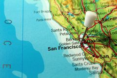 Mapa do Pin de San Francisco imagem de stock royalty free