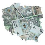 Mapa do Polônia com polimento cem fundos das cédulas do zloty Fotografia de Stock Royalty Free