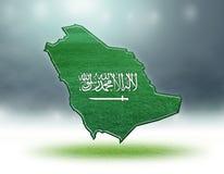 Mapa do projeto de Arábia Saudita com textura da grama de campos de futebol Fotografia de Stock
