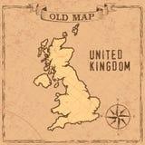 Mapa do Reino Unido do estilo antigo ilustração royalty free