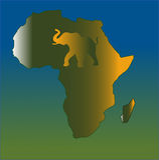 Mapa do sumário de África com elefante integrado ilustração stock