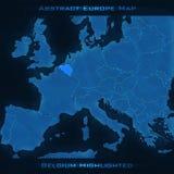 Mapa do sumário de Europa Bélgica destacou Fundo do vetor Mapa futurista do estilo Imagem de Stock Royalty Free