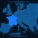 Mapa do sumário de Europa França destacou Fundo do vetor Mapa futurista do estilo Foto de Stock