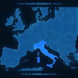 Mapa do sumário de Europa Itália destacou Fundo do vetor Mapa futurista do estilo Fotos de Stock